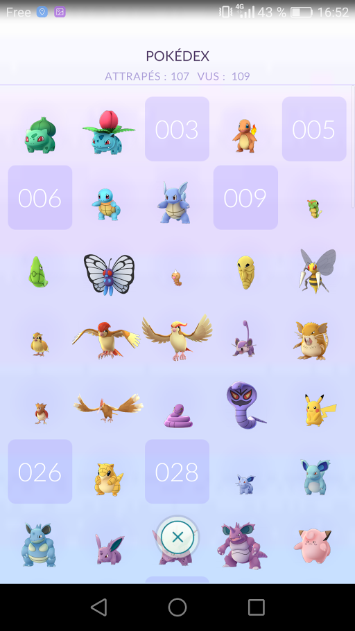 Pokédex Pokémon Go