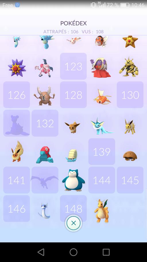 Pokémon manquants